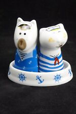 SALT AND PEPPER SHAKERS - Sailor Cat & Dog with Base - Ceramic - Free Post