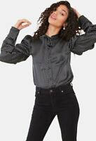 Womens Black Satin Spot Ruched Sleeve Pussy Bow Blouse Shirt Top