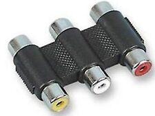 TRIPLE 3 x Phono Accoppiatore Composite AV Video + RCA Audio Adattatore colori codificati
