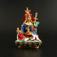 12.5CMTibet Tibetan Buddhism Resin Hand Painting Sit Guru Rinpoche Buddha Statue