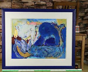 Maja Ott * 1960 Gemälde Komposition in blau abstrakt aus Bankensammlung 92x76cm