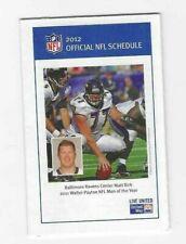 2012 OFFICIAL NFL POCKET SCHEDULE SPONSORED BY UNITED WAY (BIRK)