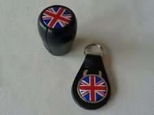 CLASSIC LEATHER GEAR KNOB WITH UNION JACK LOGO AND MATCHING KEY FOB*NEW*