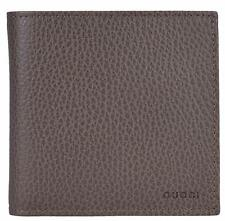 New Gucci Men's 150413 Grey Field Leather Embossed Logo W/Coin Bifold Wallet