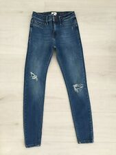RIVER ISLAND 'MOLLY' JEANS SIZE 8 R L26.5 ANKLE SKINNY FIT STRETCH DENIM RIPPED