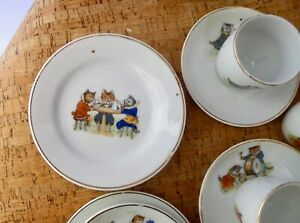 Rare antique 1919 Kitten Band anthropomorphic transferware tea set childs!