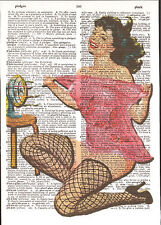 Pin-Up Girl Fishnets Fan Brunette Altered Art Print Upcycled Vintage Dictionary