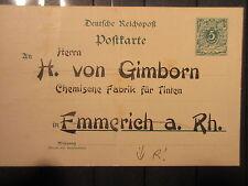 Dt. Reich GA Firmenkarte um 1890 mit Werbung   (RR18)