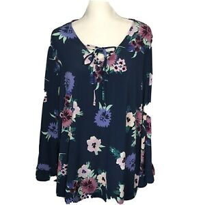 Style & Co Womens Blouse Size 2X Blue Lace Up Floral Tunic Long Sleeve Flowy $42
