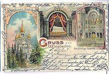 L 42 - Litho, Gruss aus Wiesbaden, griechische Kapelle, Mehrbild 1908 gl.