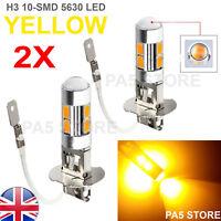 2x YELLOW H3 5630 SMD 10 LED Bulbs - AMBER Car Fog Light Lamp 12V Quality UK