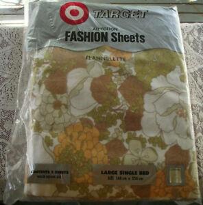 Retro Vintage TARGET Flannelette Large Single Bed Sheet Set - BNIP, Floral