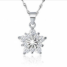 925 Sterling Silver Snowflake Crystal Pendant Necklace Stars Earrings Xmas Gifts