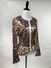 Glam! Rose Gold Sequin Peplum Jacket Boston Proper M L