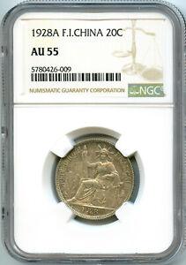 Indochine 20 Cent. 1928 A Paris NGC AU 55