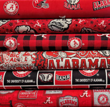 Alabama Crimson Tide Cotton Fabric By The 1/4,1/2,Yard -Pick Print- Bama Fabric