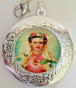 New Vintage Style Frida Kahlo Locket Necklace - Silver  A bf