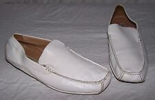 Men's 11 6227 LINEA UOMO White Leather Loafer Shoes Slip On Casual Driving