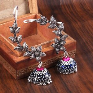 Oxidized Silver Plated Meenakari Ear-cuff Jhumka Jhumki Earrings Jewelry women