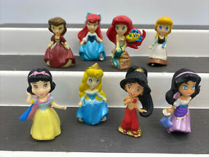 Lot of 8 Disney Princess Zizzle Mini Figures Ariel Belle Jasmine Snow Esmeralda