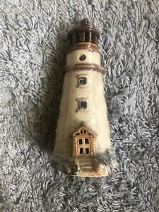 Tall Pottery Ceramic Browns Lighthouse Candle/Tealight Holder 10.5 Inches