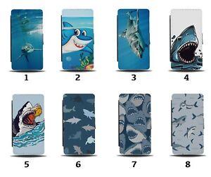 Shark Flip Wallet Case Sharks Cartoon Pattern Great White Sea Ocean Gift 8075a