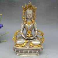 Tibet Temple Copper Silver Green Tara Kwanyin Guan yin Bodhisattva Buddha Statue