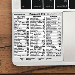 Adobe Premiere Pro Reference Guide Shortcut No-residue Vinyl Sticker Mac/PC