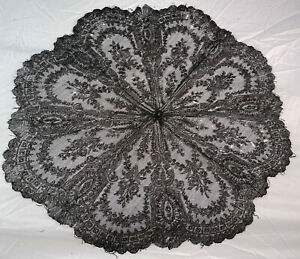 Victorian Antique Black Bobbin Chantilly Lace Mourning Folding Parasol Cover