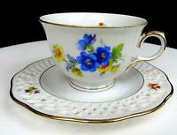 "BAVARIA ARABELLA ATELIER PORZELLAN PIERCED FLORAL 2 1/2"" CUP AND SAUCER SET"