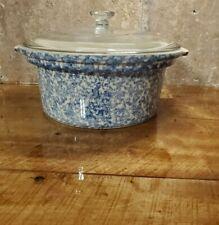 Round 2 Qt Blue Spongeware Baking Casserole Dish w/ Lid Roseville Oh