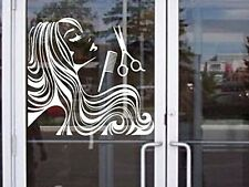 """Hair & Beauty Salon for store display door wall car truck decal sticker 16"""" Whit"""