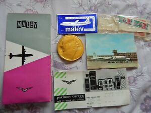 Vintage Malev Hungarian Airlines Memorabilia Including Chocolate Gold Coin Medal