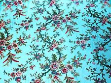 "100% SILK VELVET BURNOUT TURQUOISE FLOWERS FABRIC 45"" WIDE BY THE YARD"