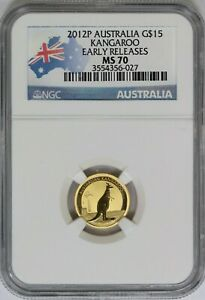 2012 NGC Australia $5 1/10 oz Gold Kangaroo MS70 ER Flag Label