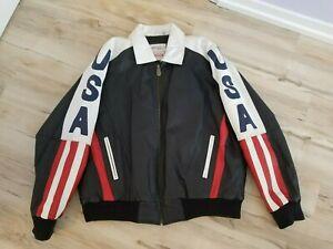 Michael Hoban AMERICAN FLAG USA LEATHER JACKET Men's Size XL