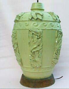 1930 Large Laurel Lamp Neoclassical Vase Urn Shape Plaster Vintage Retro Green