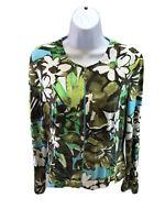 Joseph Ribkoff Women's Green/White/Brown Floral Full Zip Jacket Sz 10