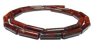 Red Brekzie Jasper Beads Roll/Tube 0 1/2x0 5/32in Gemstone Cord