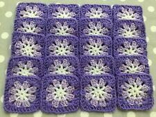 "~20 4"" LILAC & PURPLE Hand Crochet FLOWER GRANNY SQUARES Afghan Yarn Blocks"