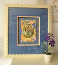 Encadrement d'art d'une carte postale ancienne sur le thème Les oeufs de pâques