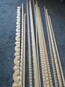 12 Holz Zierleisten verschiedene Längen und Muster NEU