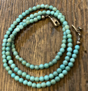 """Turquose Beaded Necklace 925 Sterling Silver Box Clasp 19"""""""