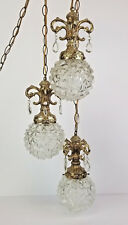 Vintage Swag Hanging Lamp Crystal Drops Hollywood Regency Rococo Style Gold
