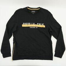 GUESS Mens Pullover Metallic Logo Graphic Print Fleece Sweat Shirt Black L $79