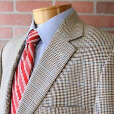 Brooks Brothers Beige Brown Navy Blue Houndstooth Plaid Sportcoat Wool Italy 43R
