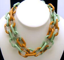 Vintage J Crew Enamel Rhinestone Chain Link Necklace Mint Green Light Brown