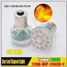 2Pcs 24 LED DC 6V Yellow/Amber Car Bulb 1156 Ba15s Turn Signal Light  P21W 382