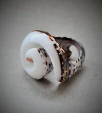 Coral Shell Ring UK size Q/R Unique Finger Natural Sea Beach Chic Spiral