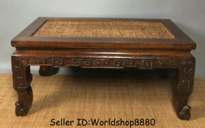 "19.2"" Old Huanghuali Wood Carved bamboo weaving Table Desk Antique furniture"